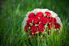 Ein Blumenstrauß der roten Rosen Stockbilder