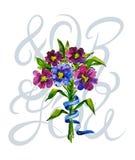 Ein Blumenstrauß von Blumen und von Beschriftung Aquarelle und Grafiken Lizenzfreies Stockfoto