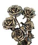 Ein Blumenstrauß von handgemachten Rosen, die vom Metall geschmiedet werden stockbild