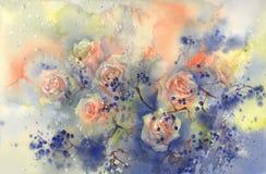 Ein Blumenstrauß von orange Rosen mit blauem Beerenaquarellhintergrund Stockfotos