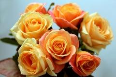 Ein Blumenstrauß von schönen cremefarbenen Rosen Stockfotos