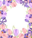 Ein Blumenstrau? von Blumen mit einem purpurroten Band Fr?hlingsrosa Tulpe, purpurroter Krokus und wei?e Convallaria majalis Gr?n lizenzfreie abbildung