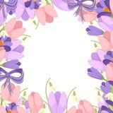 Ein Blumenstrau? von Blumen mit einem purpurroten Band Fr?hlingsrosa Tulpe, purpurroter Krokus und wei?e Convallaria majalis Gr?n vektor abbildung
