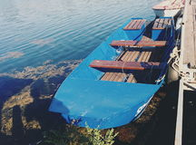 Ein Boot in der Donau Stockbilder