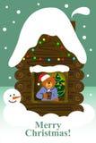 Ein Bär zu Hause allein Weihnachtsmann auf einem Schlitten Lizenzfreies Stockfoto