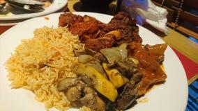 Ein Briyani-Reis gedient mit Hammelfleisch und irgendeinem Pilz stockfotografie
