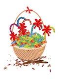 Ein Brown-Korb der Weihnachtsreizenden Süßigkeit Lizenzfreies Stockfoto