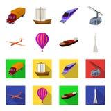 Ein Brummen, ein Segelflugzeug, ein Ballon, ein Transportlastkahn, Arten eines Weltraumraketeverkehrs Gesetzte Sammlungsikonen de Stockbilder