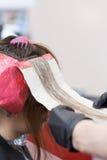 Ein Brunettemädchen, das ihre Haarfärbung hat Stockfoto