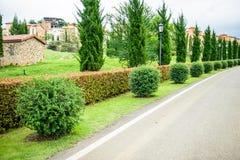 Ein Brunnen gestaltete landschaftlich und manikürte Hecke von Büschen Lizenzfreie Stockbilder