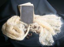 Ein Buch auf dem Schal lizenzfreie stockfotos