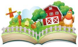 Ein Buch mit einem Bild eines Bauernhofes Stockbilder