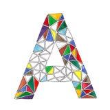 Ein Buchstabe im Aquarell deckte Mosaik im geometrischen Stil mit Ziegeln Stockbilder