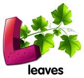 Ein Buchstabe L für Blätter Stockbilder