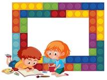 Ein bunter Ziegelsteinrahmen mit Kindern vektor abbildung