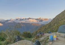 Ein Campingplatz auf Inca Trail Stockbilder
