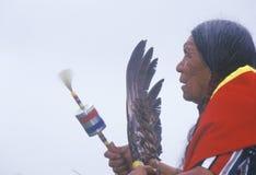 Ein Cherokee Ältestes des amerikanischen Ureinwohners an einem Intertribal Powwow, Ojai, CA Lizenzfreie Stockbilder