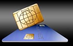 Ein Chip der Sicherheit EMV, der nahe bei einer Kreditkarte schwimmt, wird hier gesehen vektor abbildung