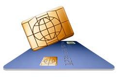 Ein Chip der Sicherheit EMV, der nahe bei einer Kreditkarte schwimmt, wird hier gesehen lizenzfreie abbildung