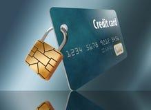 Ein Chip der Sicherheit EVM wird als Vorhängeschloß auf einer Kreditkarte gezeigt stock abbildung