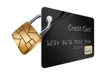 Ein Chip der Sicherheit EVM wird als Vorhängeschloß auf einer Kreditkarte gezeigt lizenzfreie abbildung