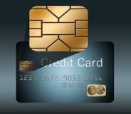 Ein Chip der Sicherheit EVM wird in einer Explosionsdarstellung einer Kreditkarte gezeigt stock abbildung