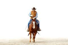 Ein Cowboy, der sein Pferd, lokalisiertes weißes backgrou reitet Lizenzfreie Stockfotos