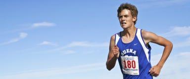 Ein Cross Country-Läufer sprintet für das Ende Lizenzfreie Stockfotografie