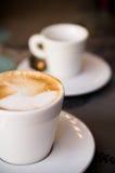 Ein Cup cappucino Stockbild