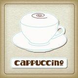 Ein Cup heißer Cappuccino in der alten Pappe Stockbild