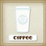 Ein Cup heißer Kaffee auf der alten Pappe Lizenzfreies Stockbild
