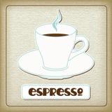 Ein Cup heißes Espresso in der alten Pappe Lizenzfreie Stockfotos