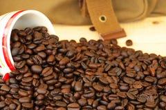 Ein Cup mit Kaffeebohnen Lizenzfreies Stockbild