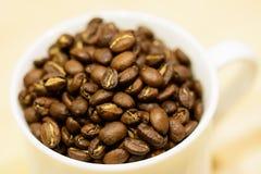 Ein Cup mit Kaffeebohnen Stockfotos
