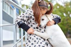 Ein cuttie Hund, der draußen mit Eigentümer spielt Tierkonzept stockfotografie