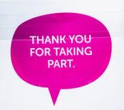 Ein Dankung Sie unterzeichnen Stockbild