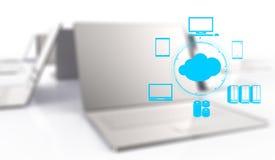 Ein Datenverarbeitungsdiagramm der Wolke auf der neuen Computerschnittstelle stock abbildung