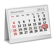 Ein Datum kreiste auf einem Kalender mit roter Tinte ein. Stockbilder