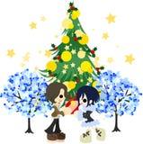 Ein Datum unter dem grünen Weihnachtsbaum Stockfotos