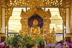 Ein Daw Yar Pagoda, Mandalay, Myanmar (Burma. Buddha sculpture in one of the many altars in this temple stock image