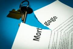 Ein defekter Hypothekenvertrag Foto des Dokuments stockbild