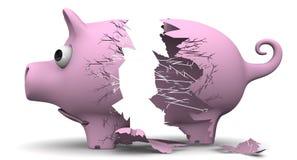 Ein defektes Schweinsparschwein Stockfoto
