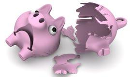 Ein defektes Schweinsparschwein Stockbild