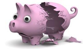 Ein defektes Schweinsparschwein Lizenzfreies Stockfoto