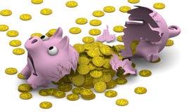 Ein defektes Schweinsparschwein mit Münzen Lizenzfreie Stockfotografie