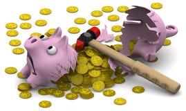 Ein defektes Schweinsparschwein mit Münzen Stockfoto