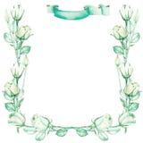 Ein dekorativer Rahmen mit einer Verzierung der grünen Rosen des Aquarellangebots für einen Text, Heiratseinladung Stockfotografie