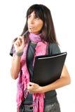 Ein Denken des weiblichen Kursteilnehmers lizenzfreie stockfotografie