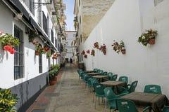 Ein der reizend schmalen Straße verziert mit Blumen in Velez-Màlaga, Spanien Lizenzfreie Stockfotos