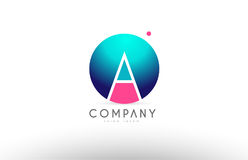 Ein des Bereichbuchstaben des Alphabetes 3d Logo-Ikonendesign blaues rosa Lizenzfreie Stockfotos